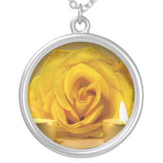 rose two candles bright yellow flower round pendant necklace