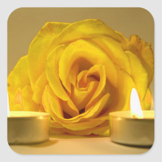 rose two candles bright yellow flower square sticker