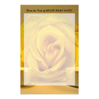 rose two candles bright yellow flower stationery