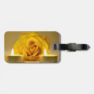 rose two candles bright yellow flower travel bag tag