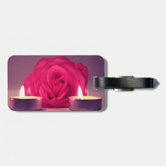 rose two candles dark pink floral image bag tags