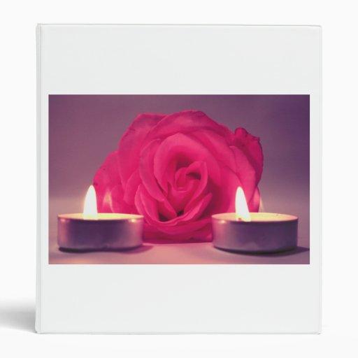 rose two candles dark pink floral image vinyl binders