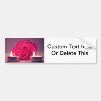 rose two candles dark pink floral image bumper sticker