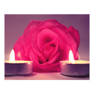 rose two candles dark pink floral image personalized flyer