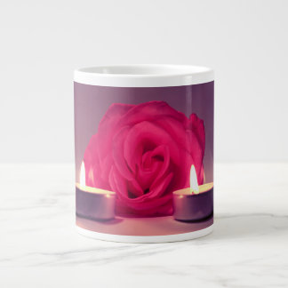rose two candles dark pink floral image giant coffee mug