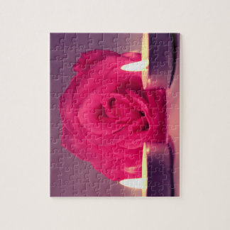 rose two candles dark pink floral image jigsaw puzzle