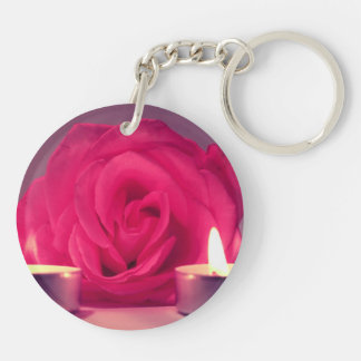rose two candles dark pink floral image acrylic key chains