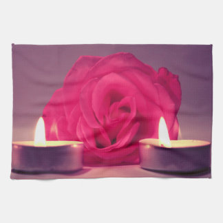 rose two candles dark pink floral image kitchen towel