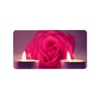 rose two candles dark pink floral image address label