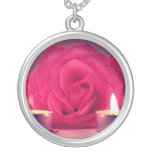 rose two candles dark pink floral image personalized necklace