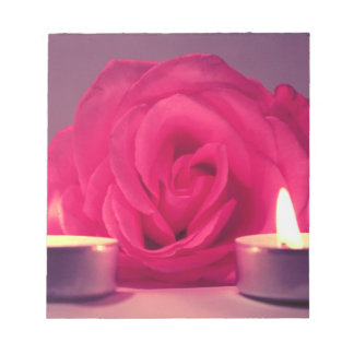 rose two candles dark pink floral image note pads