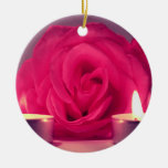 rose two candles dark pink floral image ornaments