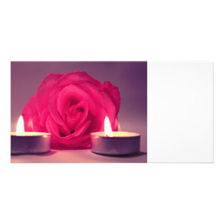 rose two candles dark pink floral image custom photo card