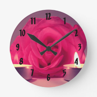 rose two candles dark pink floral image round clock