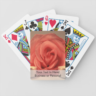 rose two candles pink floral photo bicycle playing cards