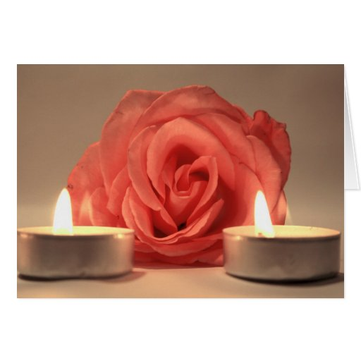 rose two candles pink floral photo card