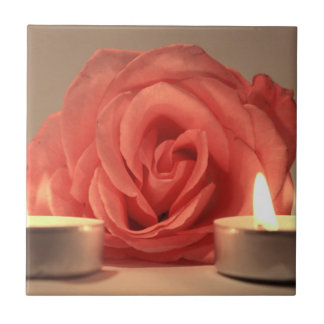 rose two candles pink floral photo ceramic tile