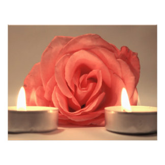 rose two candles pink floral photo flyer