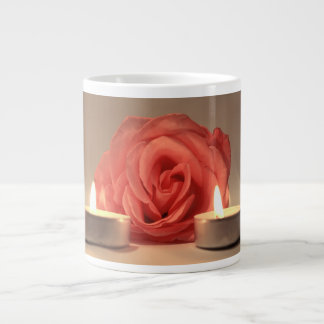 rose two candles pink floral photo giant coffee mug