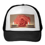 rose two candles pink floral photo hats