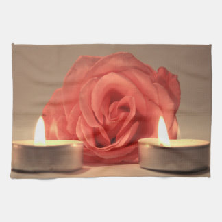 rose two candles pink floral photo kitchen towels