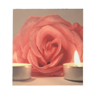 rose two candles pink floral photo memo notepads