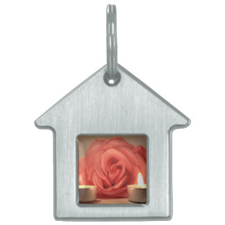 rose two candles pink floral photo pet ID tag