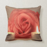 rose two candles pink floral photo pillows