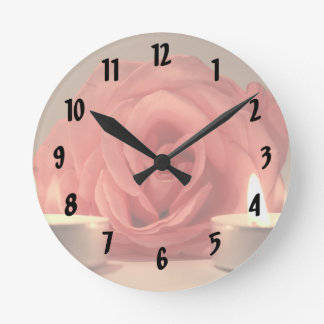 rose two candles pink floral photo round clock