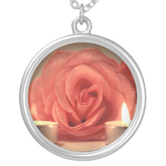 rose two candles pink floral photo silver plated necklace