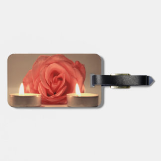 rose two candles pink floral photo tags for luggage