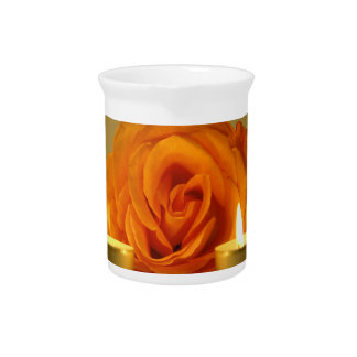 rose two candles yellow orange floral flower image beverage pitchers
