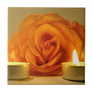 rose two candles yellow orange floral flower image ceramic tile