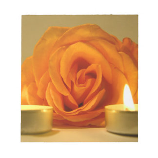 rose two candles yellow orange floral flower image memo note pad