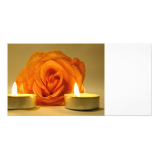 rose two candles yellow orange floral flower image photo greeting card