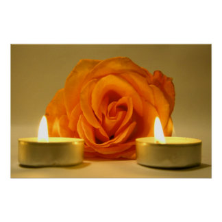 rose two candles yellow orange floral flower image poster