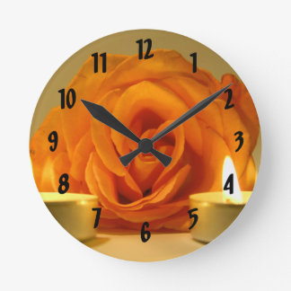 rose two candles yellow orange floral flower image round clock