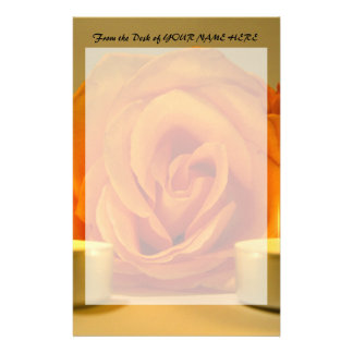 rose two candles yellow orange floral flower image stationery