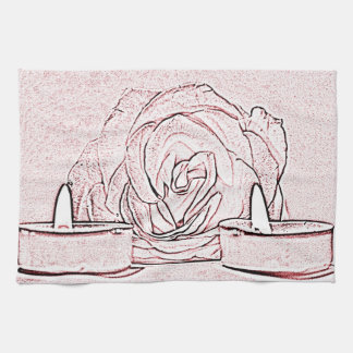 Rose, two tea light candles, done in black n pink hand towels