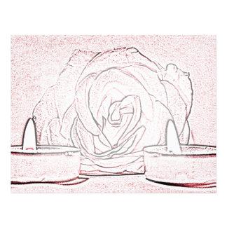 Rose, two tea light candles, done in black n pink letterhead design
