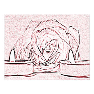 Rose, two tea light candles, done in black n pink personalized letterhead