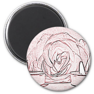 Rose, two tea light candles, done in black n pink magnet