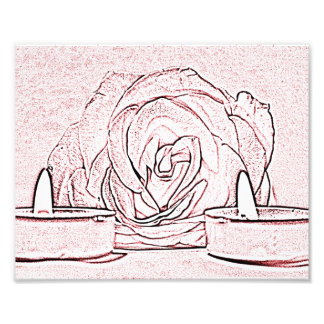 Rose, two tea light candles, done in black n pink photo print