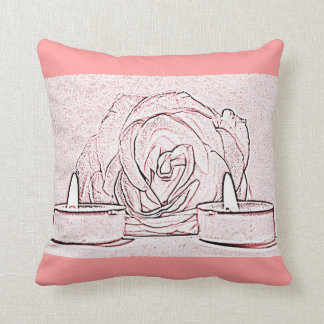 Rose, two tea light candles, done in black n pink pillow