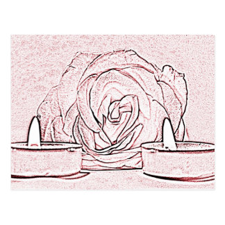 Rose, two tea light candles, done in black n pink postcard