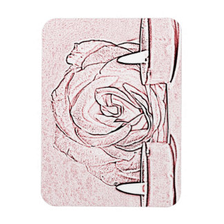 Rose, two tea light candles, done in black n pink rectangle magnet