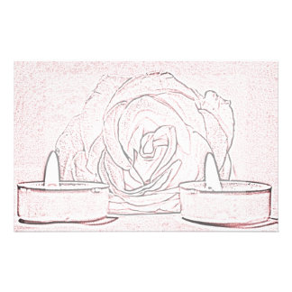 Rose, two tea light candles, done in black n pink stationery