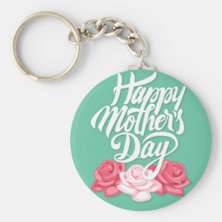 rose typography mother day keychain