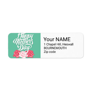 rose typography mother day label