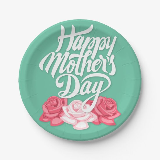 rose typography mother day paper plate